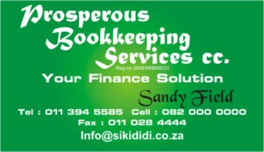 Prosperous Bookkeeping Services Business Cards