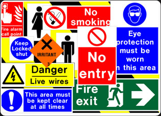 Variety of Safety Signs